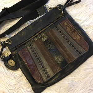 Vintage Fossil Multi Print Leather Crossbody Bag